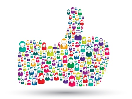 computer user: hand icons of people with the symbol of like