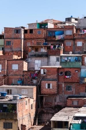 Shacks in the slum in a poor neighborhood of Sao Paulo Archivio Fotografico