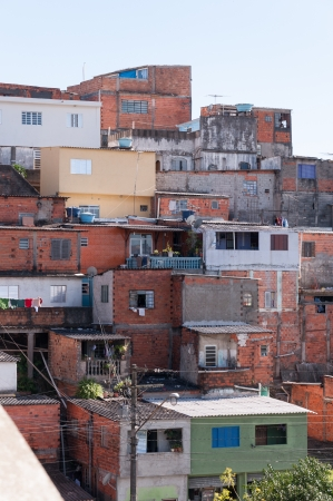 slum: Shacks in the slum in a poor neighborhood of Sao Paulo Stock Photo