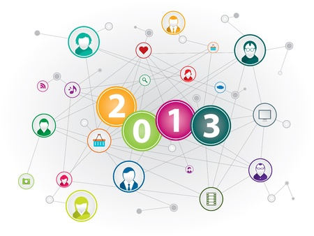 Communication network in social media in happy new year Stock Vector - 16847182