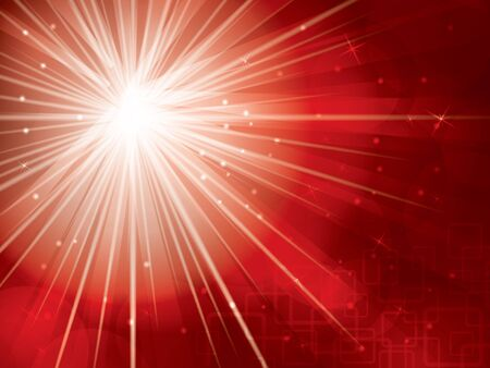 beam of light: light rays with stars and snow on red background Illustration