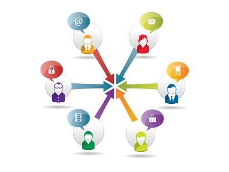 Red social, el intercambio y la seguridad en la Internet Foto de archivo - 17356857