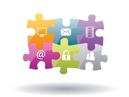 Puzzle integración de la comunicación con la seguridad de Internet Foto de archivo - 17356858