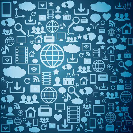 computer network: Symbol technology pattern on blue background
