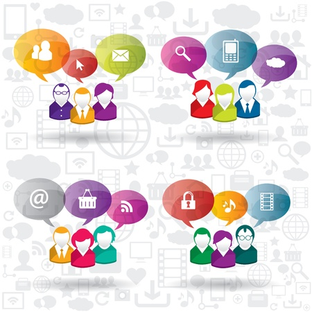 business relationship: Discussion and communication between people on business Illustration
