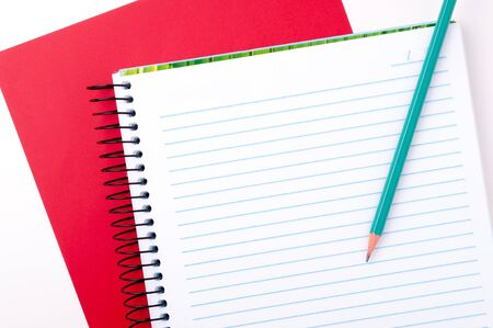 copybook: Blank spiral notebook with pencil for notes Stock Photo