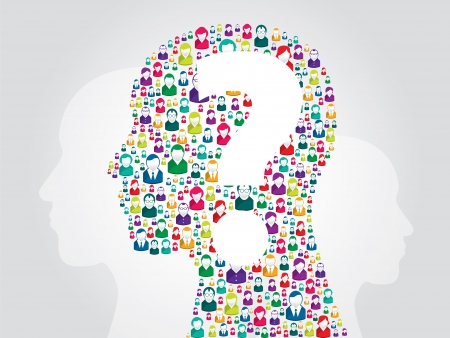 Illustration of human head with icons of people with question mark Vector