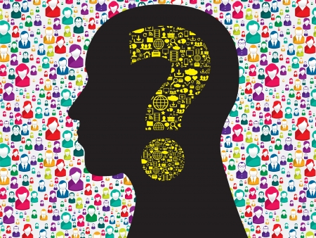 Human head with question mark symbol made from symbols technology Vector