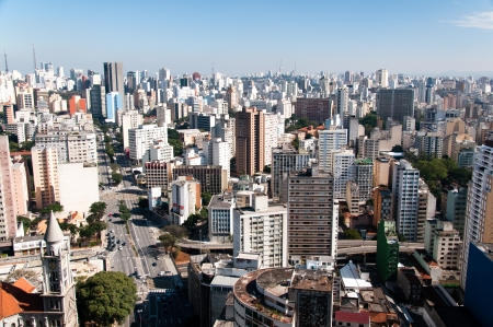 Aerial view of the city of sao paulo region avenue consolation