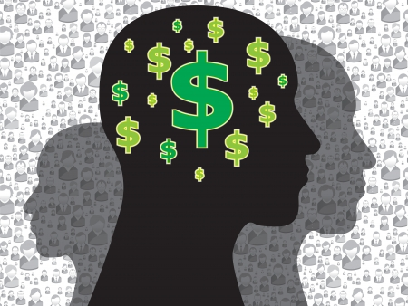 uptrend: Human head with money symbol on the brain Illustration