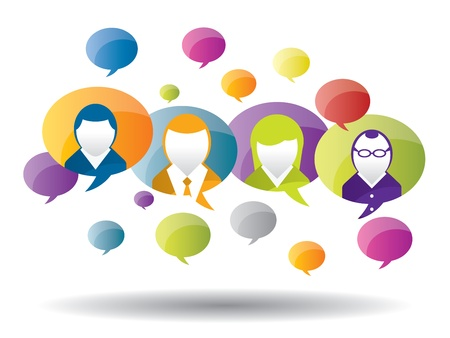 chat room: discussion and communication between people on business