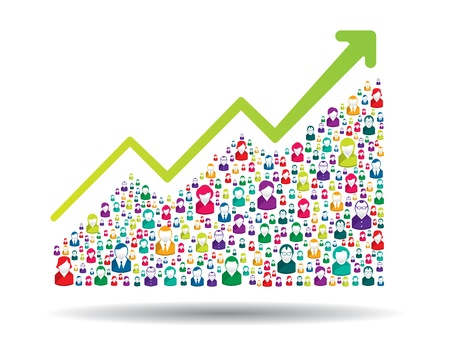 growth business: Growth chart and prgresso leading to success Illustration