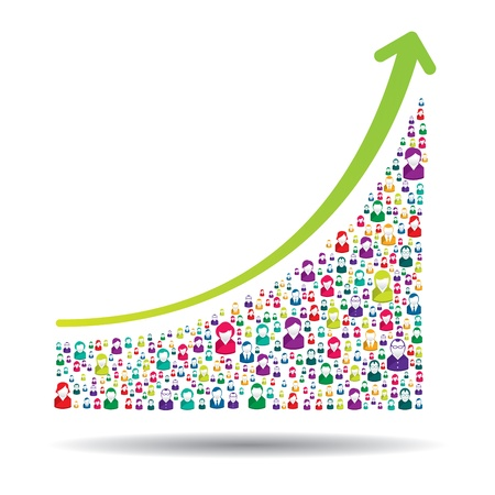 Growth chart and prgresso leading to success Illustration