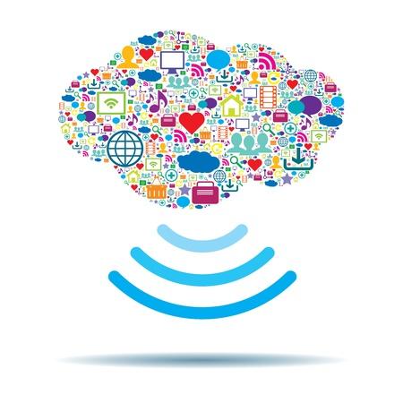 wireless network: Concepto de computaci�n en la nube en la ilustraci�n