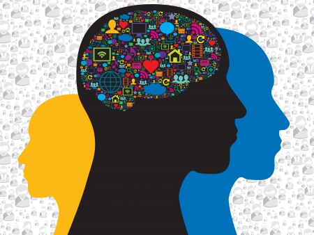 Human head with brain on the social media icons