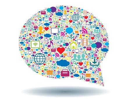 ソーシャル ネットワークにおけるコミュニケーションのバブル 写真素材 - 20333021