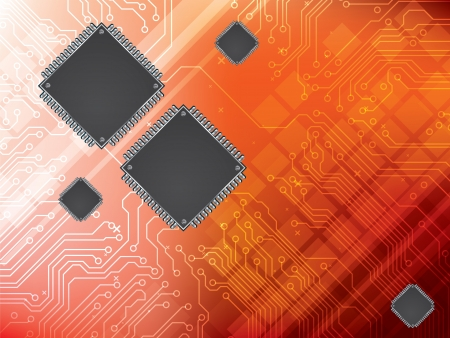 microelectronics: Technology background with integrated circuit and data processor