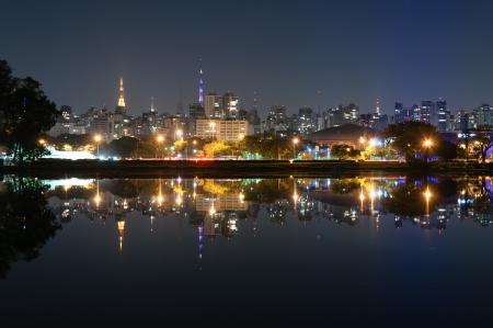 Vista nocturna de la ciudad de Sao Paulo, el Parque Ibirapuera Foto de archivo - 21128850