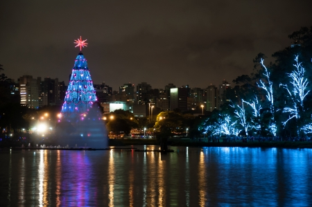 Christmas Tree lightened at night in Sao Paulo Brazil