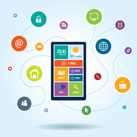 mobile phone icon: Mobile  communication by smartphone apps to services available on the internet Illustration