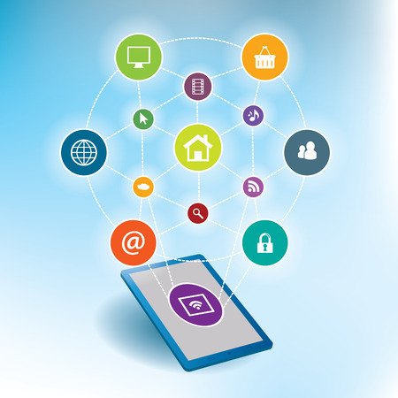 smartphone apps: Mobile communication by smartphone apps to services available on the internet Illustration