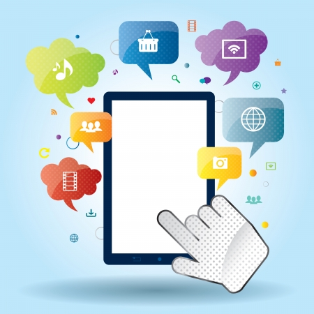 Mobile communication apps to services available on the internet Vector