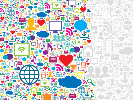 seamless pattern with social media and technology icons Vector