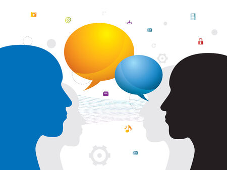 Communication between people through chat on social network  Vector