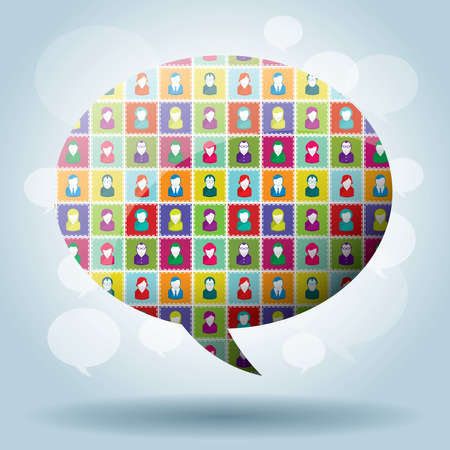 crowdsource: bubble of communication in illustration vector
