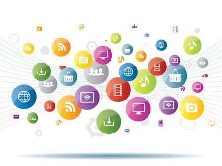 Integration between media and business generation Vettoriali