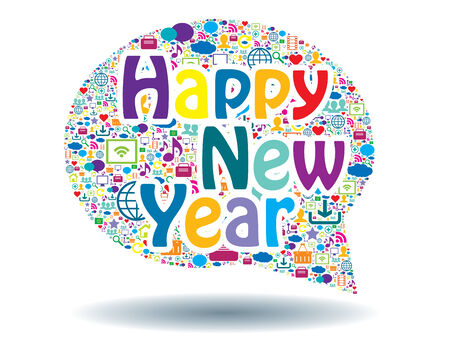 crowdsource: Bubble of communication concept celebration new year in social network