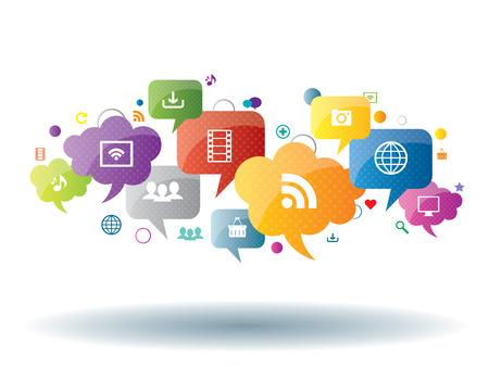 ソーシャル ネットワーク、共有、セキュリティ、インターネットの  イラスト・ベクター素材