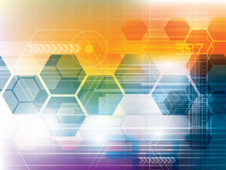 Abstract background of futuristic technology and shapes of hexagons