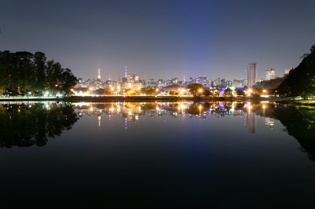 Night view of the city Sao Paulo, Ibirapuera Park photo