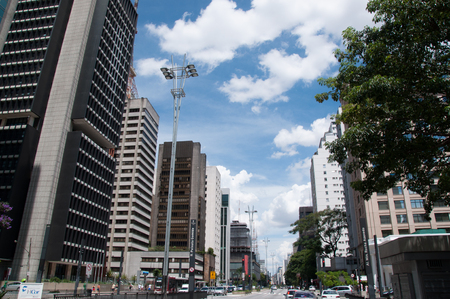 SAO PAULO, BRAZIL - February 12  Paulista Avenue is one of the most important thoroughfares of the city of Sao Paulo, one of the main financial centers of the city on February 12, 2013, in Sao Paulo