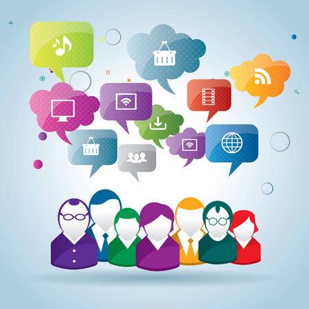 Teamwork of business people interacting in social network Vector