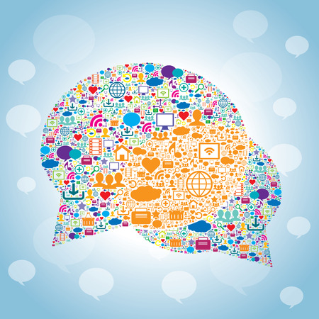 crowdsource: Bubble of communication with icons for technology and social media