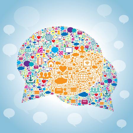 Burbuja de comunicación con los iconos de la tecnología y los medios sociales Foto de archivo - 31295118