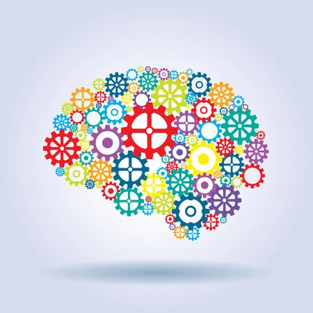 pensamiento creativo: cerebro humano con el pensamiento estratégico y las ideas innovadoras