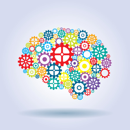 brain and thinking: human brain with strategic thinking and innovative ideas Illustration