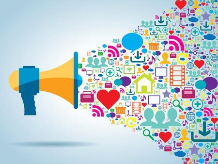 médias: la communication et la stratégie de promotion avec les médias sociaux Illustration