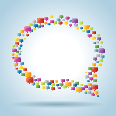 crowdsource: bubble of communication  with speech bubble icons  Illustration
