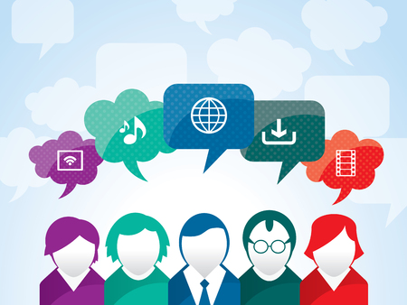 social network icon: Teamwork of business people interacting in social network
