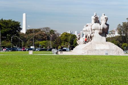 The Bandeiras Monument in ibirapuera park, Sao Paulo, Brazil. Editorial