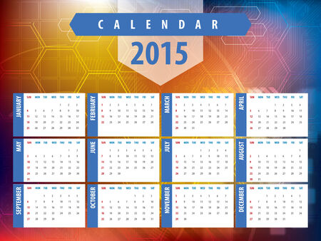 chronological: Calendar 2015 with futuristic technology designs