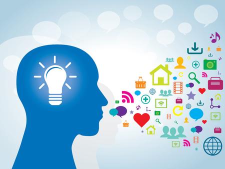 Cabeza humana con la lámpara y los iconos de la tecnología de la comunicación
