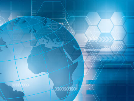 Blue abstract technology background with world map