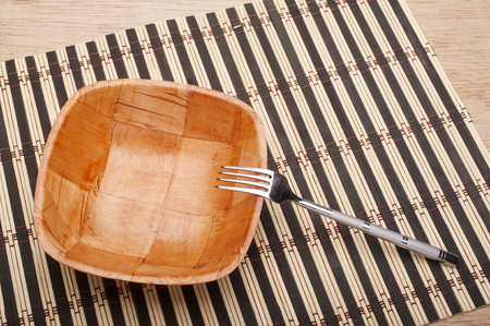 placemats: Bowl and fork on placemats on dining table
