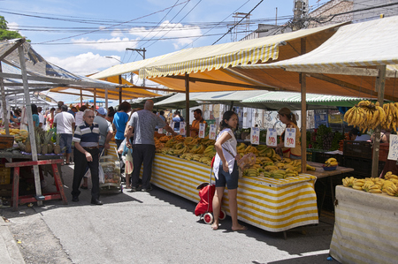 ensuring: SAO PAULO, BRAZIL - DECEMBER 2: Traditional street fair of Sao Paulo city , ensuring the supply of fresh foods, on December 2, 2014 in Sao Paulo. Editorial