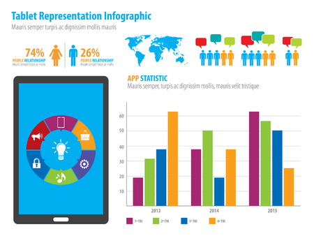 demographics: Financial infographic representation in vector illustration. World Map and Information Graphics
